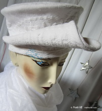 hat, white-cotton vintage-boutis relief, retro-woman-hat