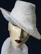 hat, white-cotton vintage-boutis embroidery-relief, retro-woman-hat, L