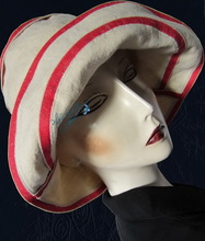 summerhat, sand beige and red linen, L-XL