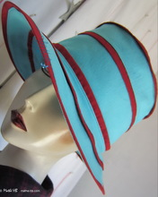 summerhat, turquoise and red-carmine lin-coton, XL