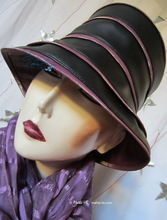 hat-to-order, S, rainhat, black and black and lila iridescent burgundy