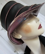 hat-to-order, rainhat, M, black and black and lila iridescent burgundy