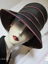 hat-to-order, rainhat, XL, black and black and lila iridescent burgundy