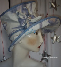 summerhat, pastel abstract blue and white sand cotton, S-L