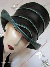 hat-to-order rainhat, black and green iridescent bronze-khaki