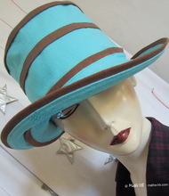 summerhat, turquoise Nil and chestnut cotton, L
