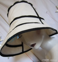 summerhat, black and white, cotton and linen