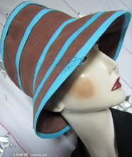 summer hat, chestnut and turquoise cotton-linen, L