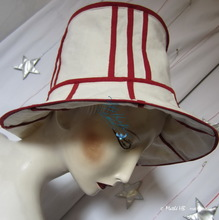 summer hat, sand-white and carmin-red cotton-linen, XL