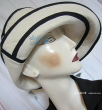 summer hat, sand and night navy linen, woman L