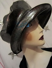 hat-to-order, rain hat, silver-sequins-black and pearly white