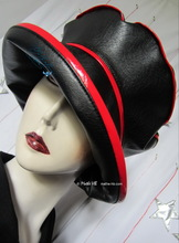 hat-to-order, rain hat, black and red, woman