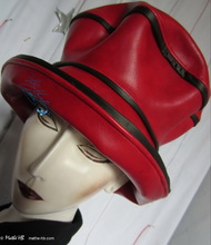 hat-to-order, rain hat, red and black, woman
