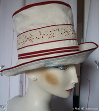 summer hat, beige-sand and carmine-embroidery cotton-linen