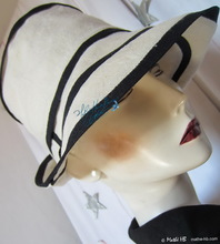 summer sun-hat, sand white and night navy linen, M