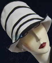 summer sun-hat, white and night navy, cotton and linen, L