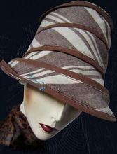 summer hat, chocolate lined sand linen, woman sun hat