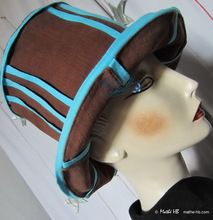 summer-hat, chestnut-chocolat and turquoise cotton-linen, sun-hat
