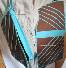 shoulder-bag, turquoise and chocolat,  4 inside pockets, linen-cotton
