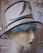 summerhat, pastel abstract blue and white sand vintage cotton
