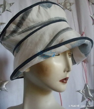 elegant hat, navy cream cotton, spring-summer, sun hat