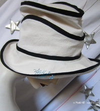 summer hat, woman, marine wave and sand, 56-57-M, linen and cotton