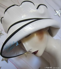 summer rain hat, 60-61-XL, black and white, crocodile imitation, elegant woman