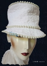 elegant hat, pearls ivory, vintage cotton, wedding