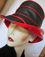 rain-hat, ebony-black and red woman hat