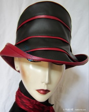 rain-hat, ebony-black and wine-red woman hat