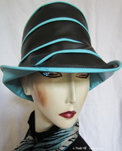 rain-hat, ebony-black and  Nile turquoise woman hat