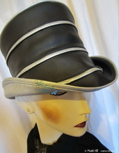 rain-hat, ebony-black and metallized silver plated gray, woman hat