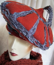 winter hat, red-brick & gray-blue, style Mongolian