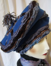 winter-hat, royal blue-wol chocolate-chestnut gray-blue son-velvet, style Mongol