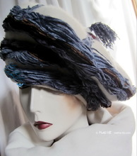 winter hat, wool cream white and gray-blue, style Mongolian