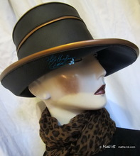 rain-hat to-order, ebony-black and bronze coppered, unisex rain-headgear