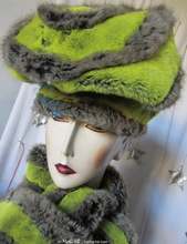 winter-hat-to-order, flash-green-yellow-and-grey-mole faux-fur-hat, winter-headgear