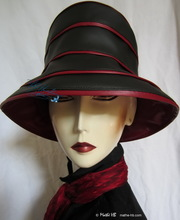 hat-to-order, rain-hat black carmine-red, rain-headgear