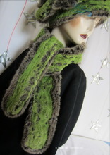 scarf, flash alligator green and kaki grey faux fur