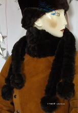 chocolate and black coffee scarve, 4 PomPom, faux fur