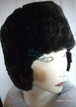 futuristic-retro hat, 55/S, black-coffee, chocolat-brown faux-fur