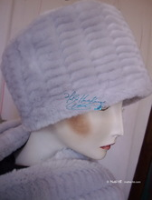 elegant hat, white gray pearl faux fur, toque 56-57, elegance 2012-winter