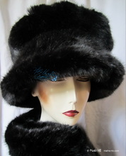 winter hat, the lady in black, woman winter headgear