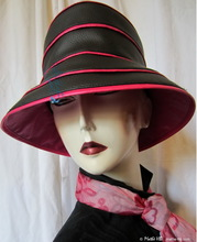 rain hat to order, black ebony and fushia customizable headgear