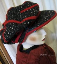winter cap, black and white wool and red knitting, unisex headgear