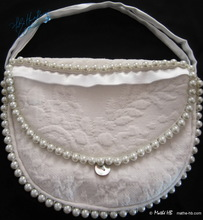 bag jewelry, pearls ivory vintage cotton, wedding