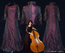 Concert outfit for double bassist musician, tunic jacket and trousers