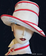 summer hat to-order, white sand and red linen