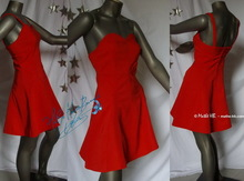 dress, trapeze red, retro party evening,