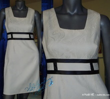 dress, ivory and black, event ceremony, retro party evening,
